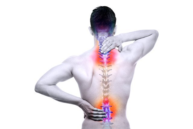 Neck pain, upper back pain and lower back pain.